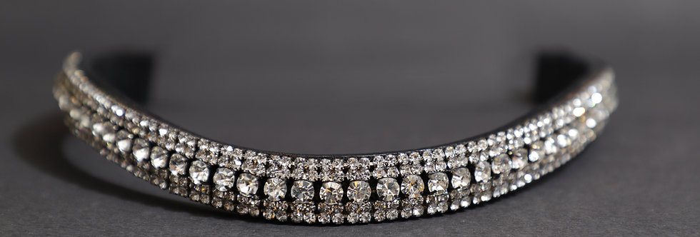 BLING DIAMANTE SPARKLY 5 ROW WHITE PEARL CRYSTAL WITH BLACK LEATHER BROWBAND