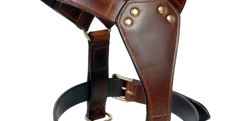 LEATHER DOG PLAIN HARNESS FULLY PADDED BRASS FITTING AVAILABLE IN 6 COLOURS