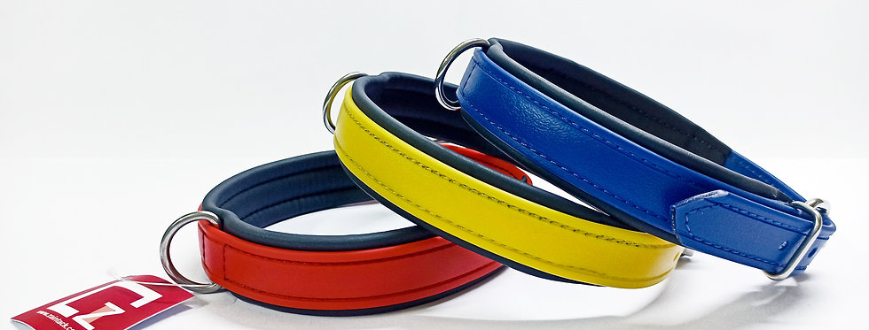 BIOTHANE DOG COLLAR (LEATHER LOOK), DURABLE, WATERPROOF, IN 3 COLOURS