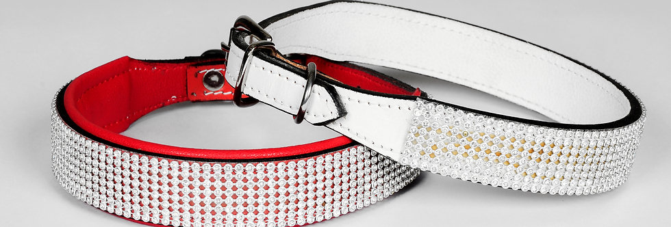 "Bridle Leather Rhinestone Diamante Dog Collar Bling Puppy 16""-18"" Neck Size"