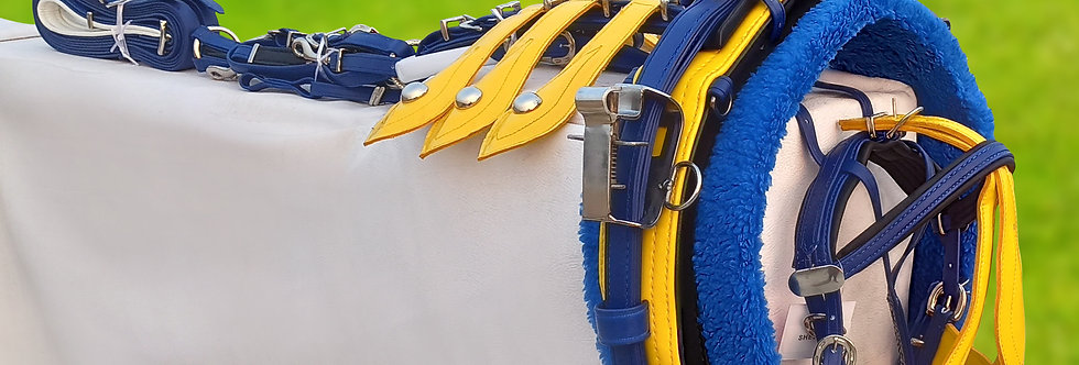 QUICK HITCH BIOTHANE HORSE DRIVING HARNESS BLUE & YELLOW COLOUR COMBINATION