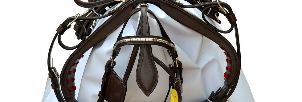 HORSE LEATHER HARNESS BROWN COLOR, BRASS FITTING