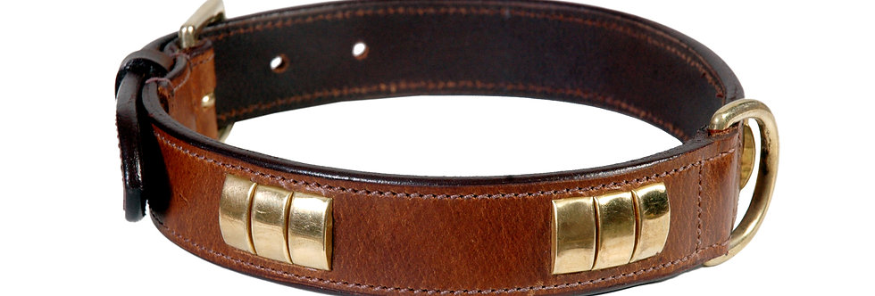 LEATHER DOG COLLAR (W/O STAFFY KNOT)  BRASS FITTED HARDWARE