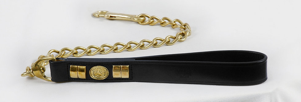 HEAVY DUTY LEATHER HANDLE DOG CHAIN LEAD WITH SOLID BRASS FITTING IN 6 COLORS