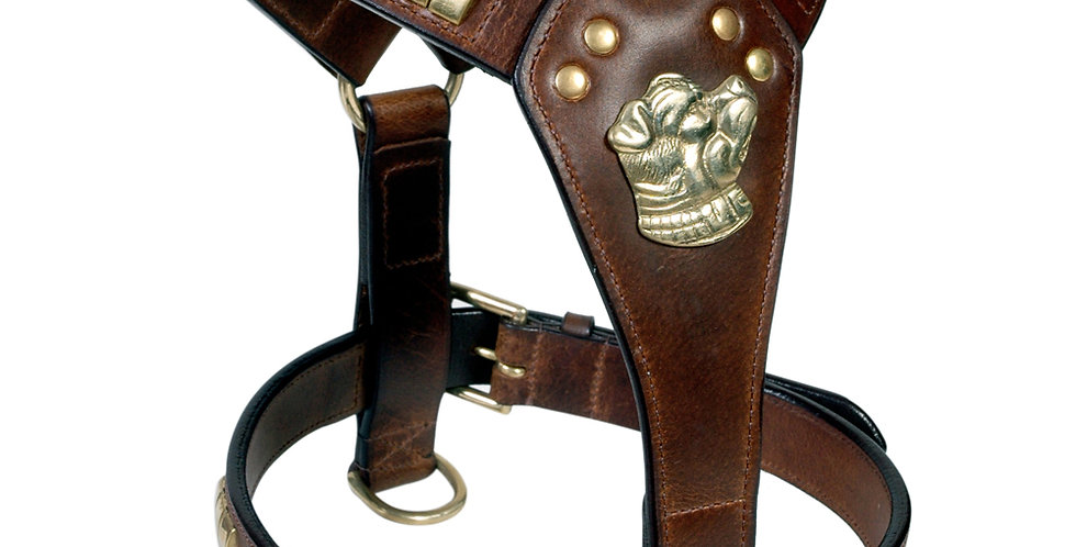 LEATHER DOG HARNESS (W/O STAFFY KNOT) FULLY PADDED  BRASS FITTED HARDWARE