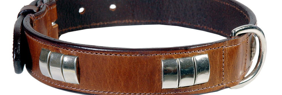 LEATHER DOG COLLAR (W/O STAFFY KNOT)  CHROME FITTED HARDWARE