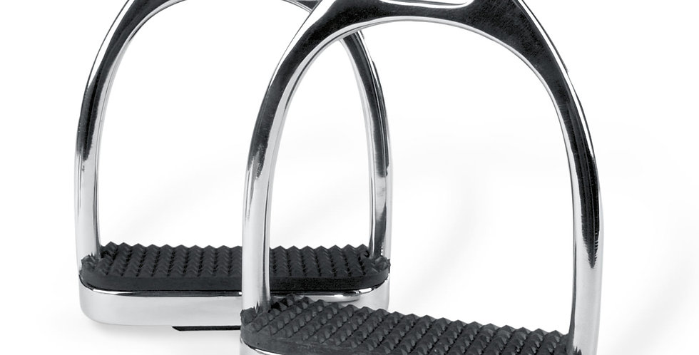 """Stirrup Irons Stainless Steel with Black Treads 4.5"""""""
