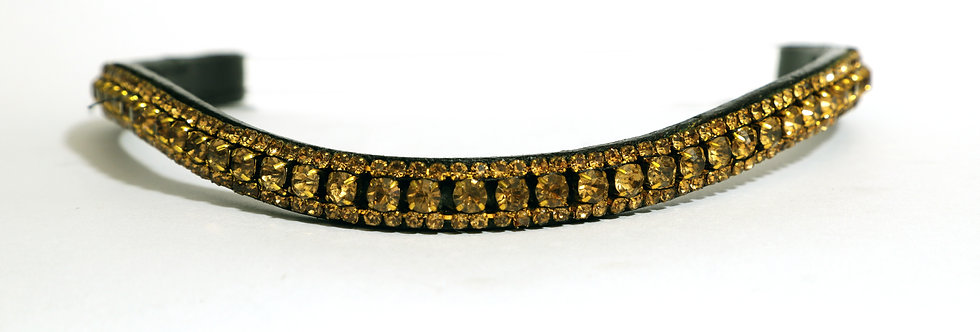 BLING DIAMANTE SPARKLY 3 ROW GOLDEN PEARL CRYSTAL WITH BLACK LEATHER BROWBAND