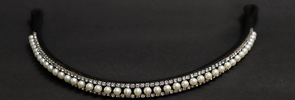 BLING DIAMANTE SPARKLY 3 ROW WHITE PEARL CRYSTAL WITH BLACK LEATHER BROWBAND