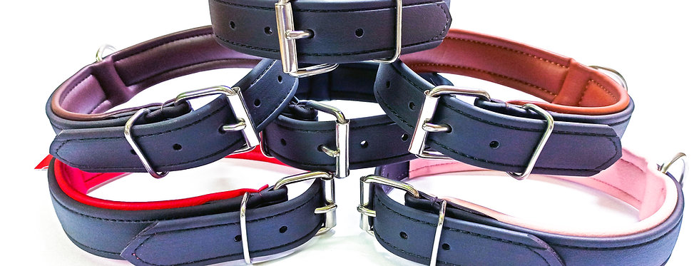 BIOTHANE DOG COLLAR (LEATHER SUBSTITUTE), FULLY PADDED, 6 COLOR CHOICES
