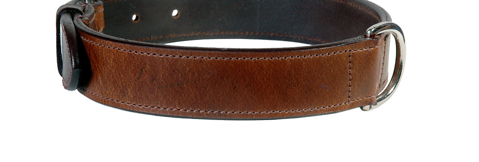 LEATHER DOG PLAIN COLLAR FITTED WITH CHROME AVAILABLE IN 6 MULTI COLOURS