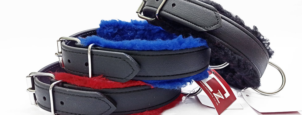 BIOTHANE DOG COLLAR FULLY PADDED WITH FUR, DURABLE, WATERPROOF, IN 3 COLOURS