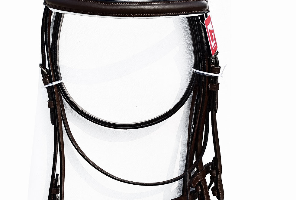 "1"" WIDE NOSEBAND AND BROBAND FULLY PADDED LEATHER BONFIRE HORSE BRIDLE"