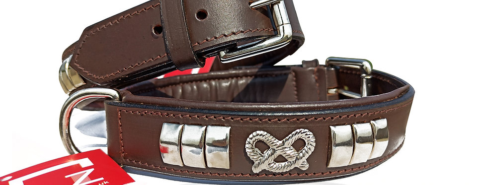 LEATHER DESIGNER DOG COLLAR, CHROME STUDDED WITH STAFFY KNOT IN 6 COLORS