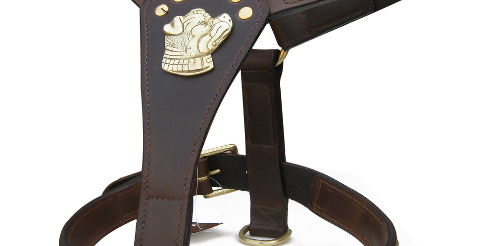 LEATHER STAFFY DESIGNER DOG HARNESS WITH DOG MOTIFF FULLY PADDED BRASS FITTING