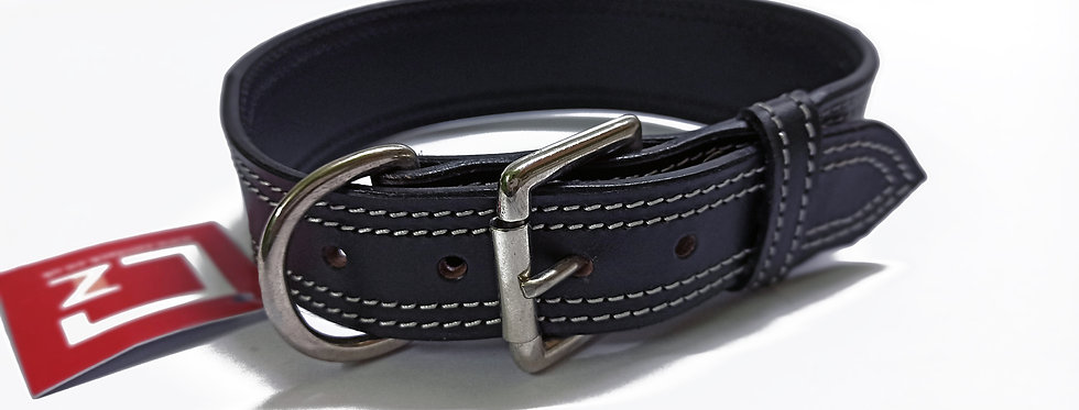 LEATHER DOG COLLAR DOUBLE STITCHED WITH WHITE THREAD, AVAILABLE IN CHROME FINISH
