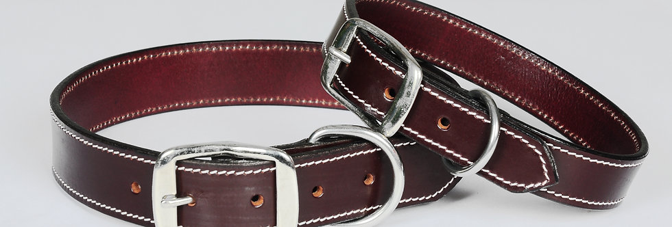 TOP QUALITY BRIDLE LEATHER DOG COLLAR BROWN WITH WHITE STITCHING S,M,L SIZE