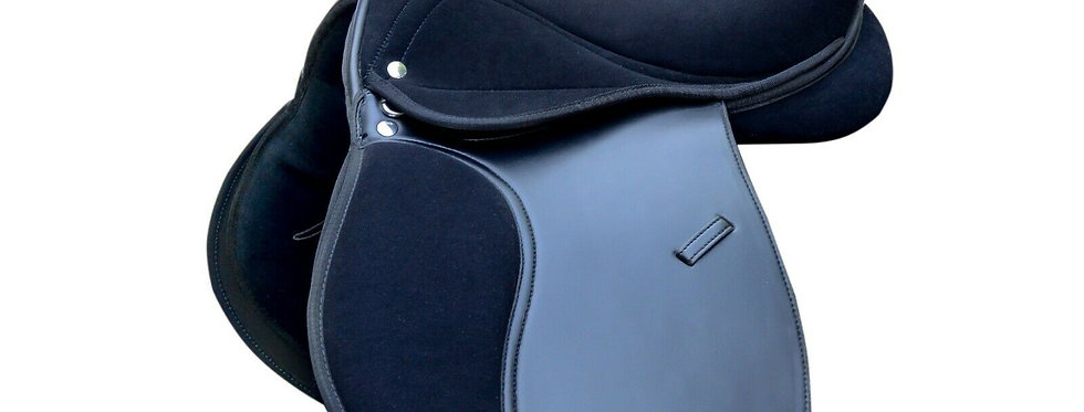 """SYNTHETIC LEATHER HORSE SADDLE BLACK SUEDE SEAT 14, 15,16,17"""" INCH SEAT"""