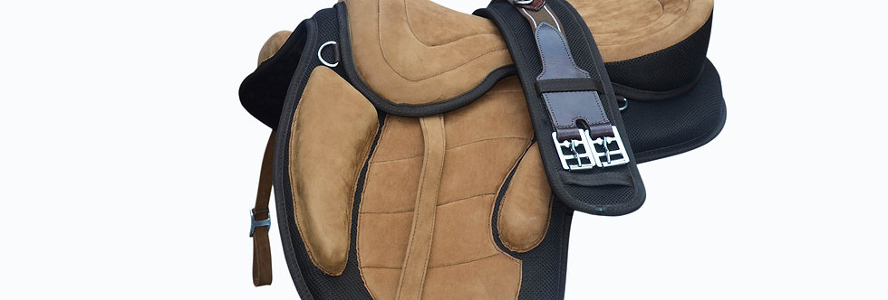 "Synthetic Treeless Horse Saddle fit to (16""-18"") + free Girth & Stirrup"