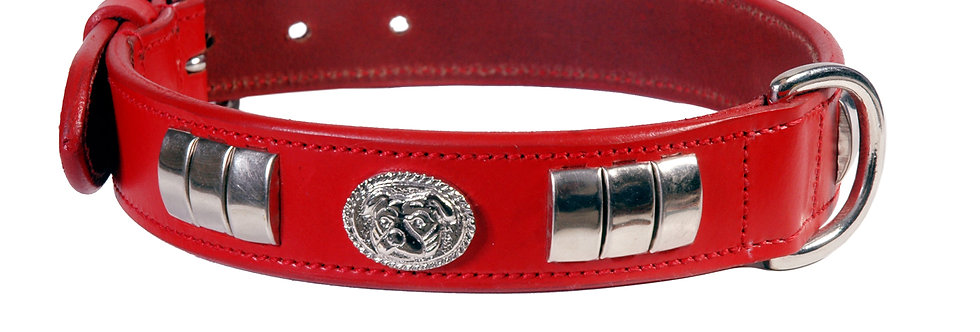 LEATHER DESIGNER DOG COLLAR, CHROME STUDDED WITH DOG MOTIFF IN 6 COLORS