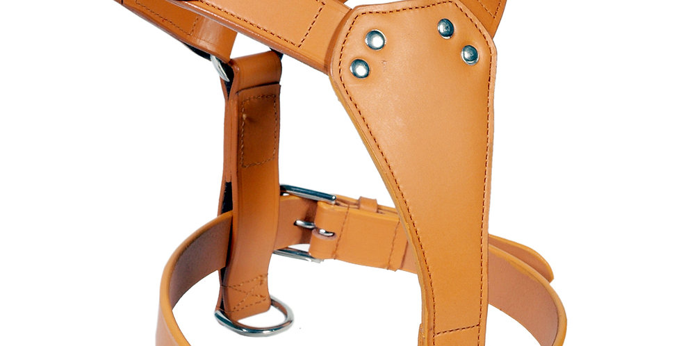 LEATHER DOG PLAIN HARNESS FULLY PADDED CHROME FITTING AVAILABLE IN 6 COLOURS