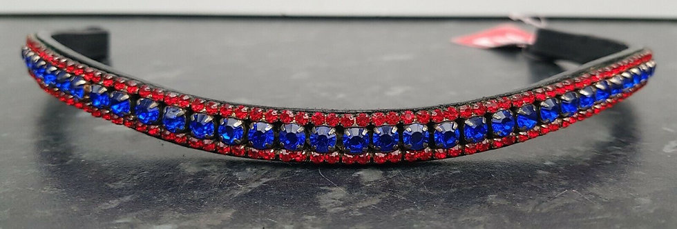 BLING DIAMANTE SPARKLY 3 ROW RED/BLUE PEARL CRYSTAL WITH BLACK LEATHER BROWBAND