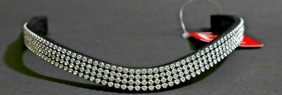 BLING DIAMANTE SPARKLY 4 ROW WHITE CRYSTAL WITH BLACK LEATHER U SHAPE BROWBAND