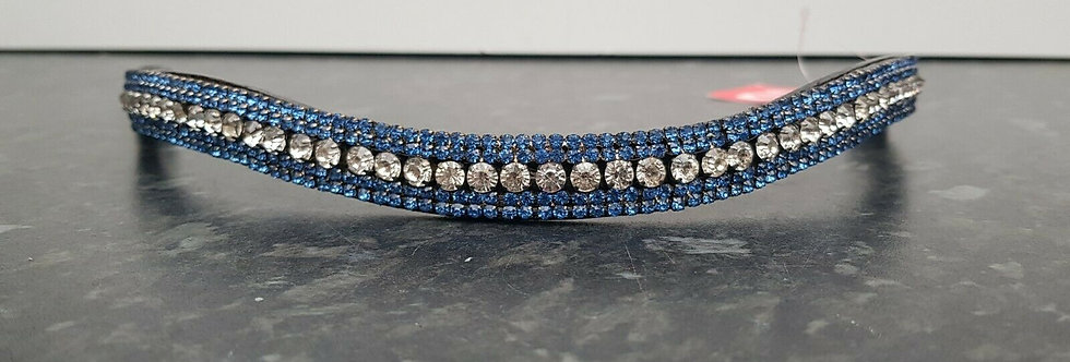 BLING DIAMANTE SPARKLY 5 ROW PEARL CRYSTAL WITH BLACK LEATHER BROWBAND