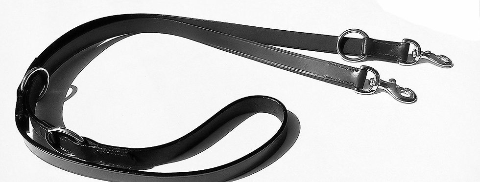 "LEATHER POLICE DOG TRAINING ADJUSTABLE LEAD, BLACK & BROWN COLOR,1/2"" WIDE"