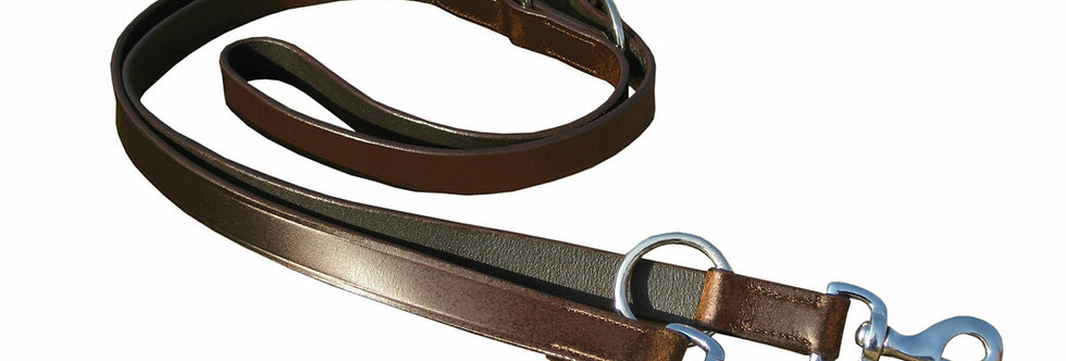 "LEATHER POLICE DOG TRAINING ADJUSTABLE LEAD, BLACK & BROWN COLOR 1"" WIDE"