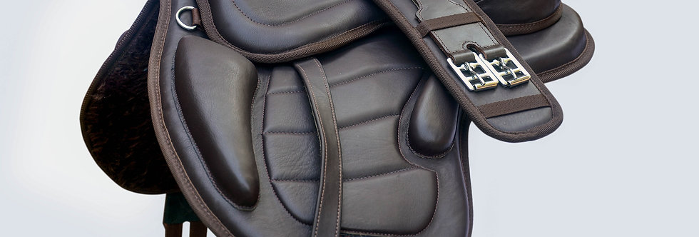 """SOFT LEATHER TREELESS HORSE SADDLE BLACK & BROWN COLOR FIT TO (16""""-18"""") SEATSIZE"""
