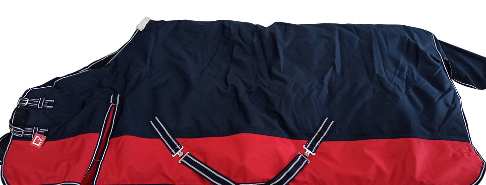 HORSE TURNOUT RUG HEAVY WEIGHT NAVY BLUE/ RED, ALL SIZES 600 D WATERPROOF