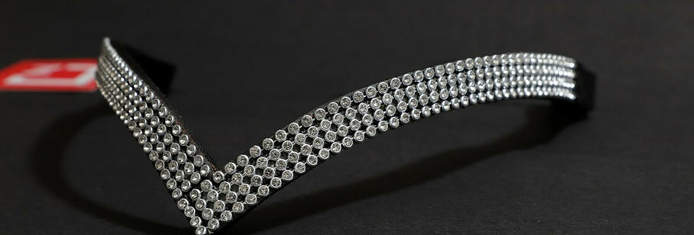 BLING DIAMANTE SPARKLY 4 ROW WHITE CRYSTAL WITH BLACK LEATHER V SHAPE BROWBAND