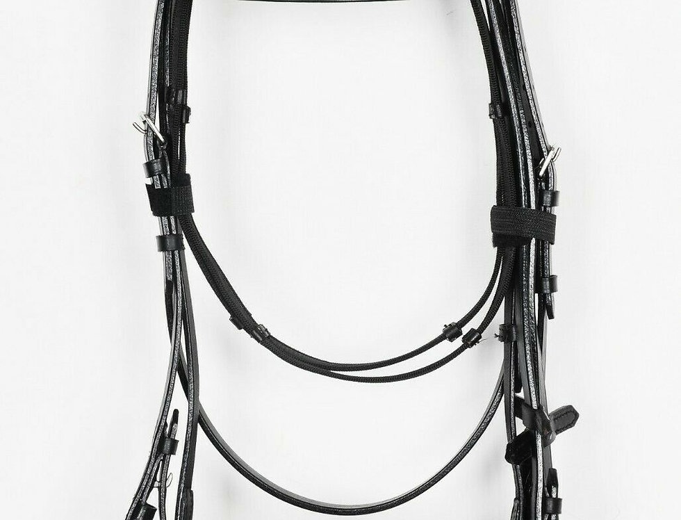 "REAL LEATHER HUNTER BRIDLE WITH 2"" NOSEBAND & BROWBAND, BLACK & BROWN COLOR"