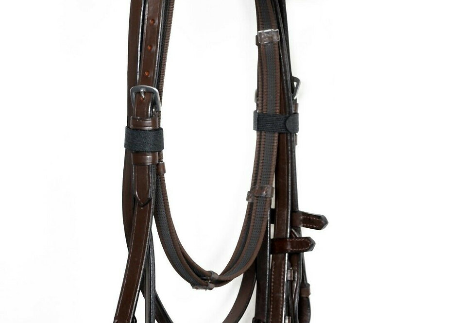 "REAL LEATHER PLATED HUNTER SHOW BRIDLE WITH 2"" NOSEBAND PLAITED & BROWBAND"