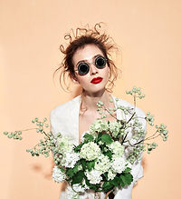 Model with White Flowers