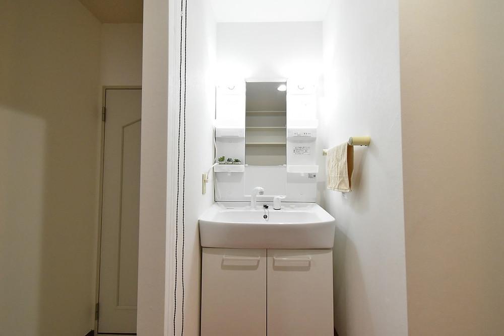 S205号室の洗面台。既製品ですが収納スペースは充実しています。