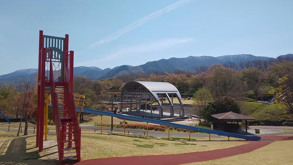 曽根丘陵公園には大きな遊具がいっぱいあります