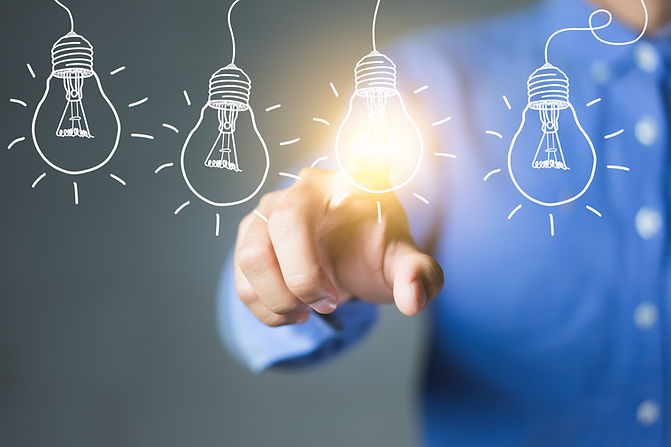 Businessman touching light bulbs, new id