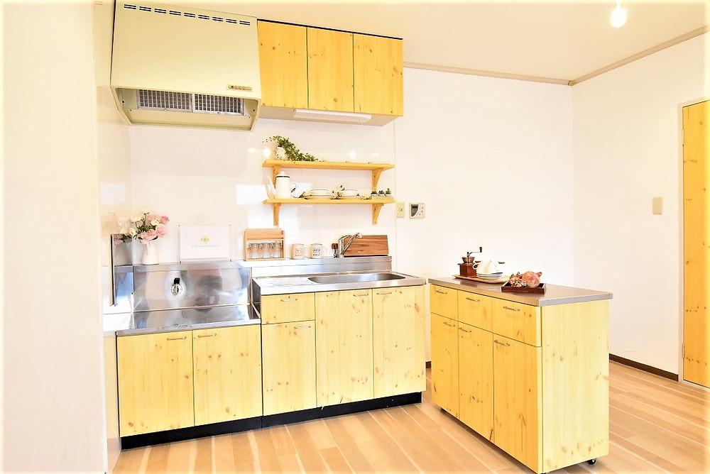 流しの左側にも狭いですが調理台がありますので、ご夫婦で食材の下ごしらえができます