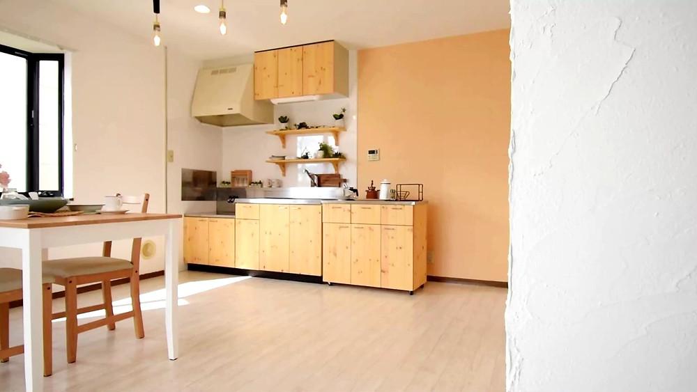 おしゃれな漆喰壁が施工されてあるグレイスロイヤルS205号室LDK