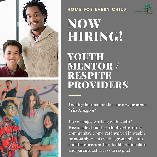 now hiring! Youth mentor _ respite provi