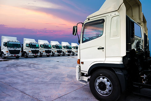 New truck fleet is parking and sunset background..jpg