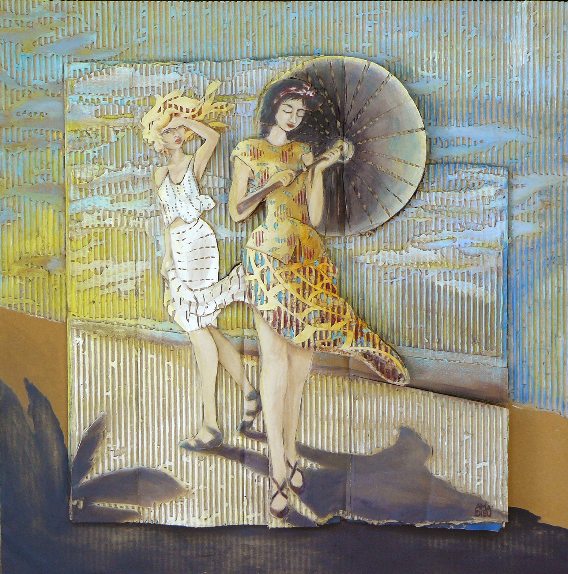 Deux filles un parasol 64x64 cm