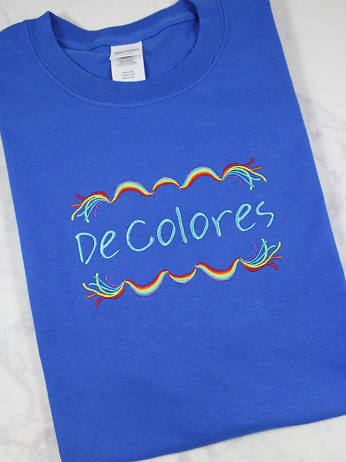 Emmaus De Colores Embroidered Rainbow Banner T-Shirt