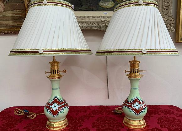 Paire de lampes en Opaline vert