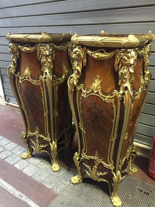 Paire de colonnes en bois d'acajou , garnie de bronze .