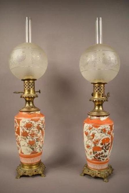 Paire de lampes en porcelaine de chine