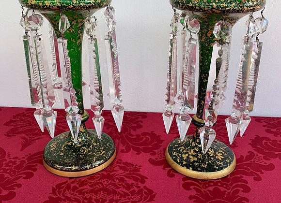 Paire de porte Ananas en cristal de bohème verte