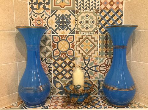 Paire de grand vase en cristal d'opaline , 19ème siècle , bon état